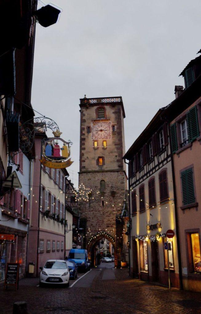 Clock tower gate in medieval Ribeauville.