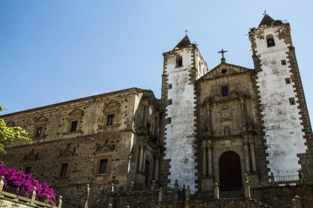 Twin bell towers of Caceres cathedral.