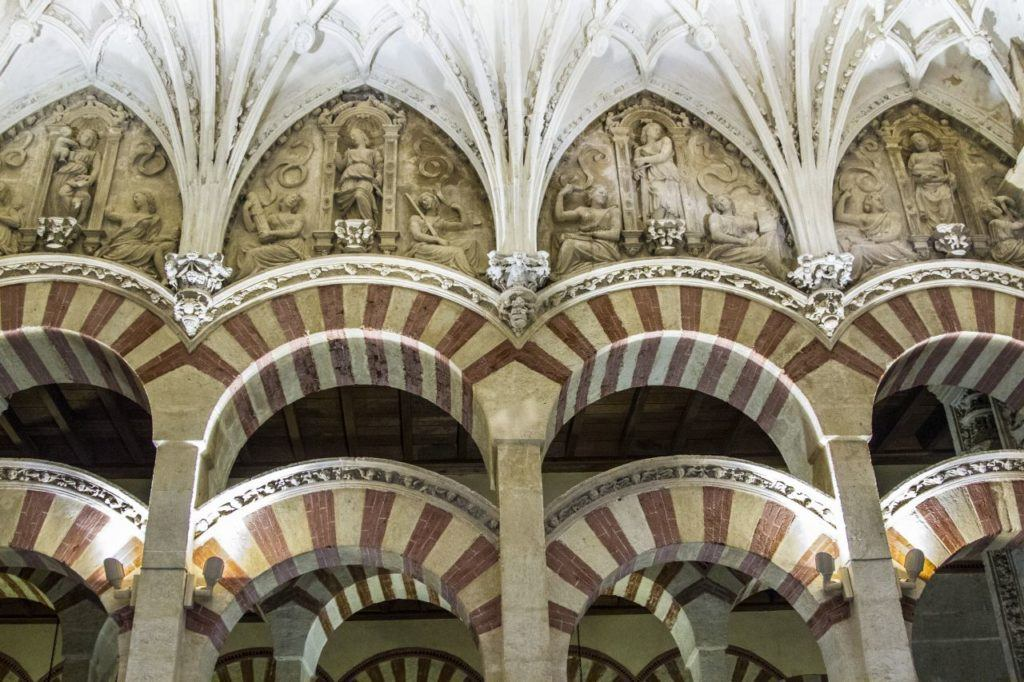 These distinctive red and white arches are found in the Great Mosque of Cordoba.