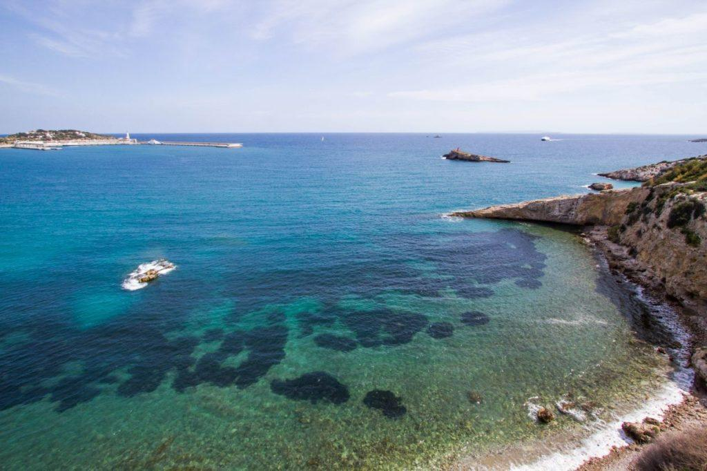 The crystal blue waters of the Med as seen from Ibiza fortress walls.