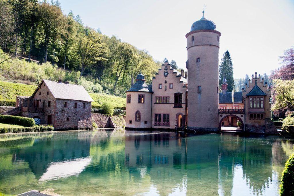 A landscape view of Schloss Mespelbrunn.