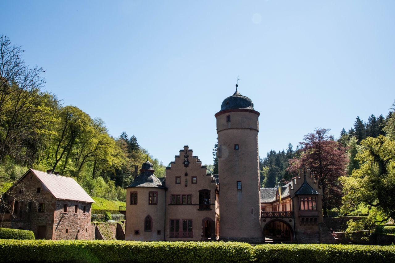 Small, quaint, fairy tale Mespelbrunn Castle in Germany.
