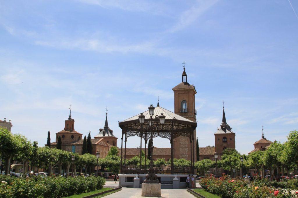 Roses are always blooming in the beautiful Plaza de Cervantes in Alcala de Henares.