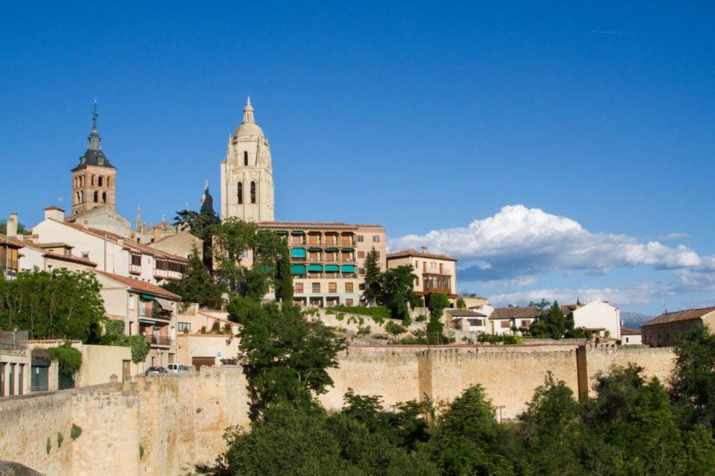 Looking back at the city of Segovia from the castle walls.