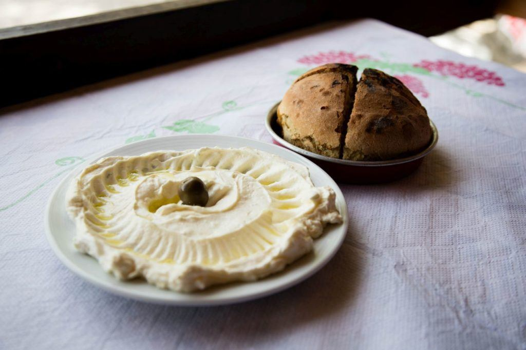 Delicious hummus and homemade bread to start.