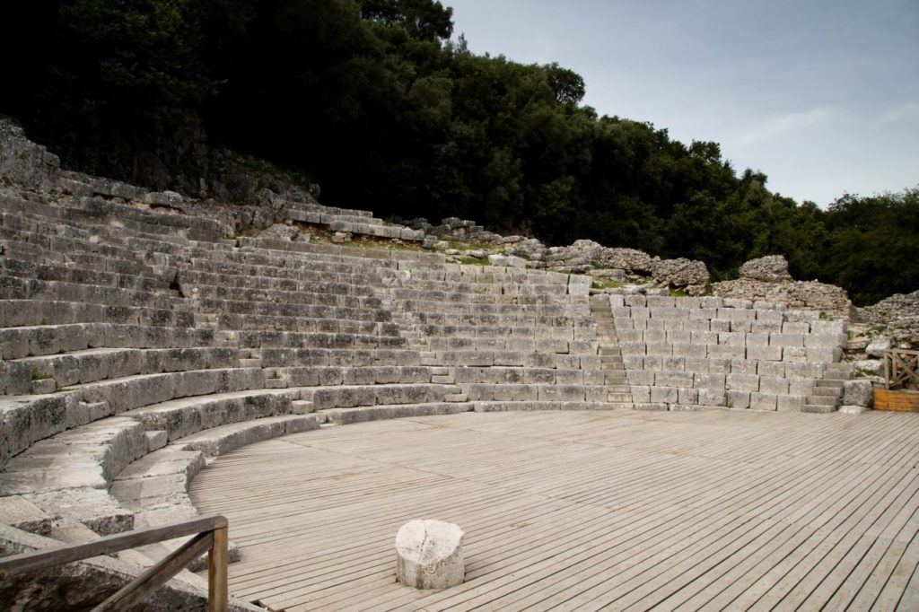 Standing in the Butrint amphitheater.