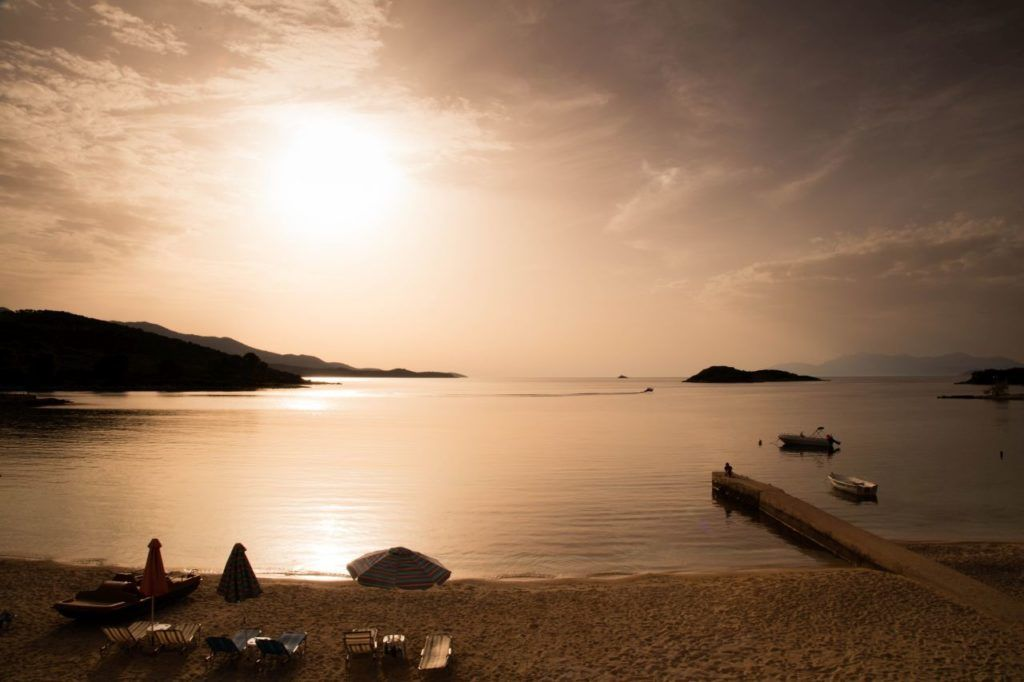 Sunset on the beach near Butrint.