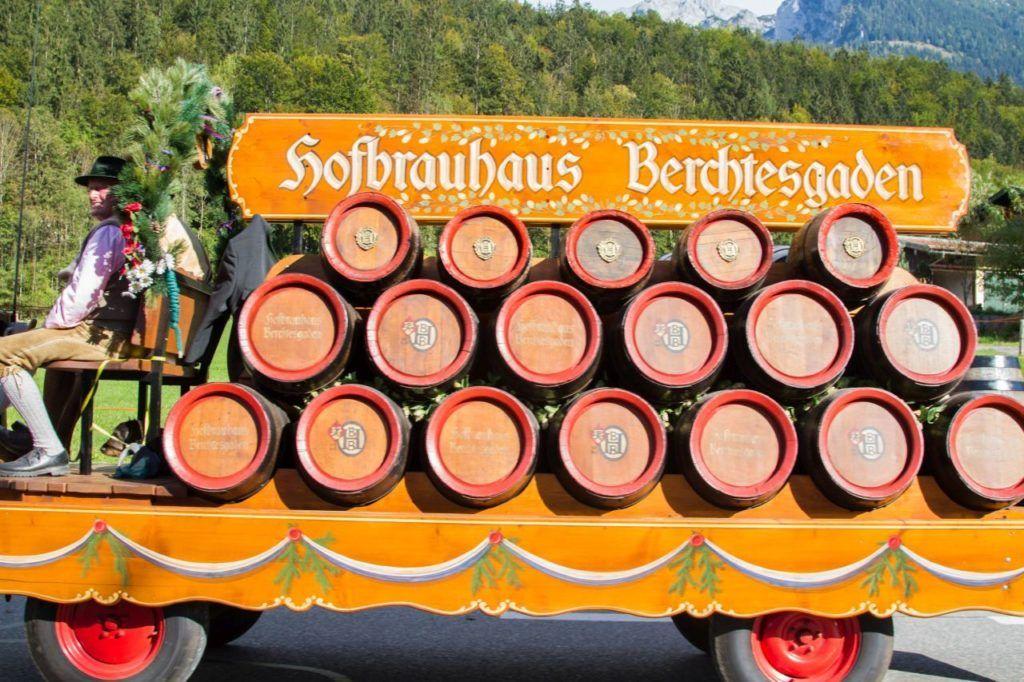 The horse and wagon pulls barrels of Hofbrau beer.