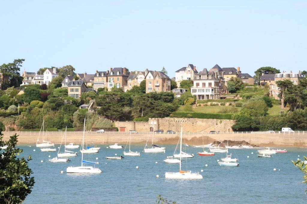Sailboats in the bay along the stunning Brittany coast.