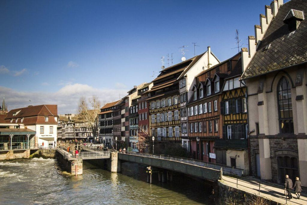 Half-timbered houses on the riverside in the quaint village of Strasbourg.