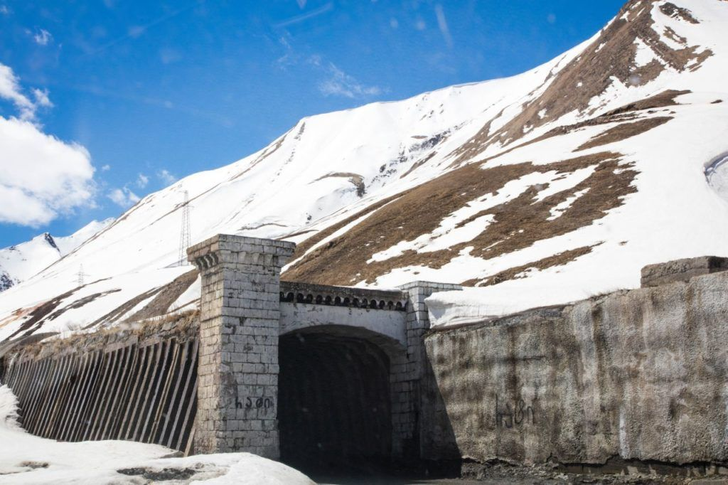One of the tunnels near the pass on the Georgian Military road.