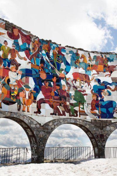 Friendship memorial mosaic on the Georgian Military Road.