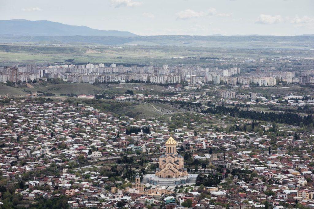 View of Holy Trinity Cathedral from Mtatsminda Park in Tbilisi.