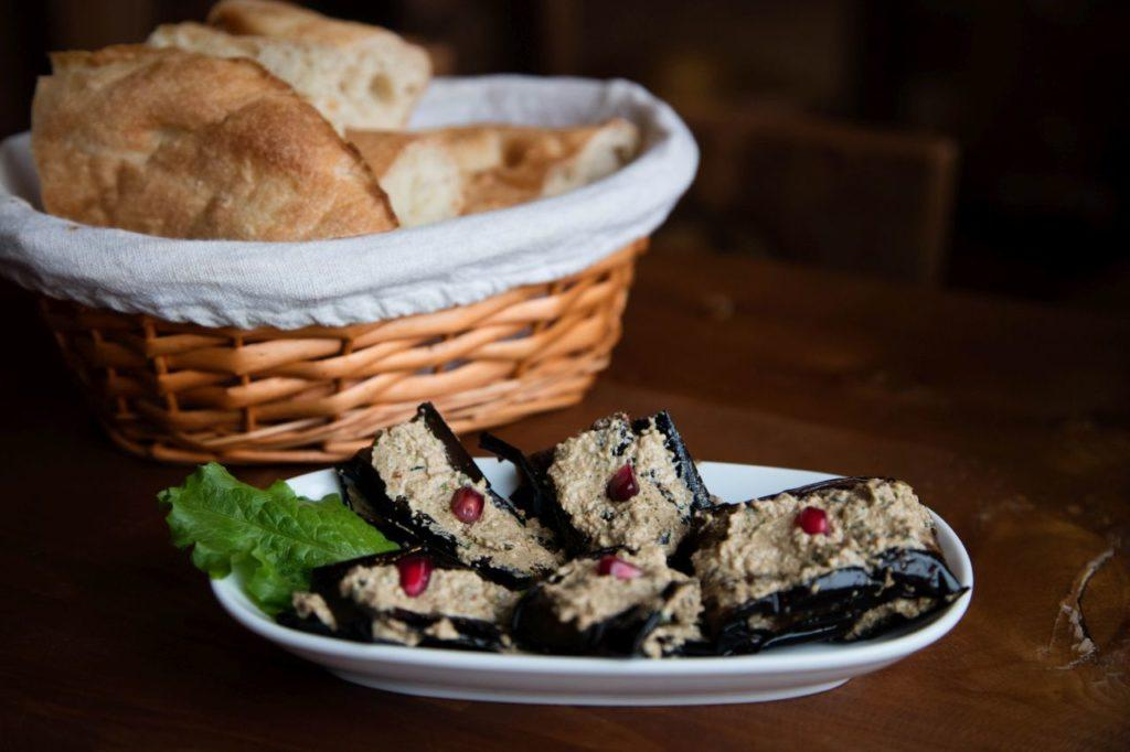 Our favorite Tbilisi dish was this eggplant stuffed with a garlic walnut paste.