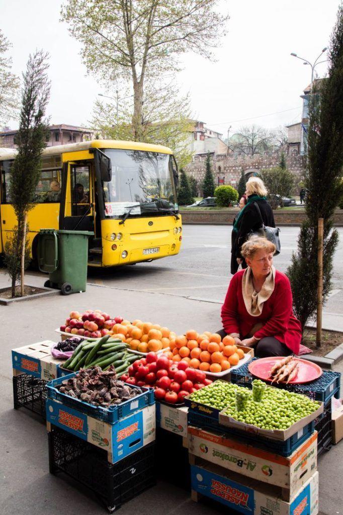 Tbilisi fruit vendor on the street near the old town.