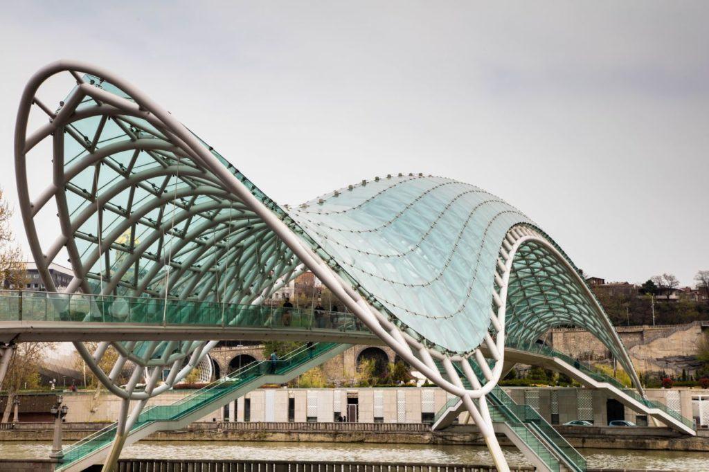 Tbilisi's glass covered peace bridge.