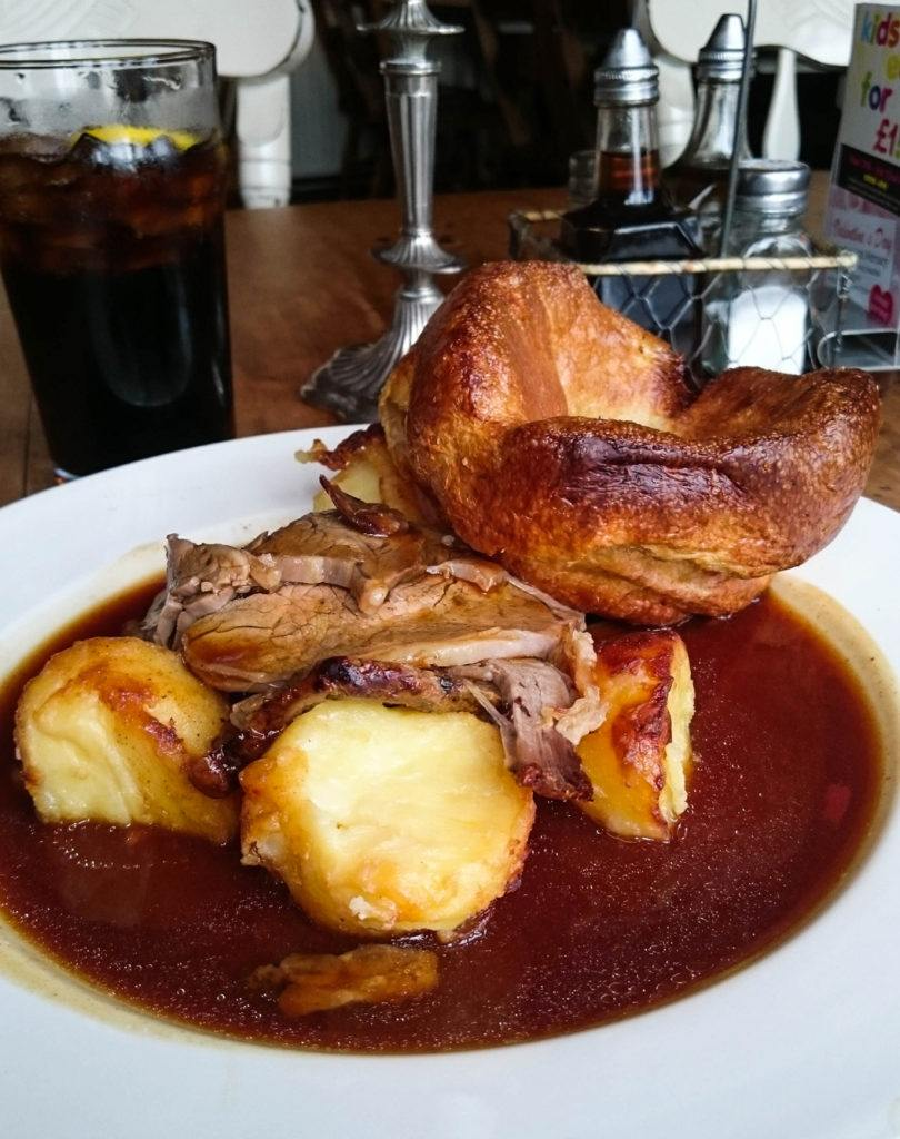 Traditional beef with Yorkshire pudding, which is a dumpling.