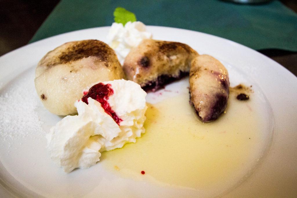 Slovak steamed dumpling with blueberry.