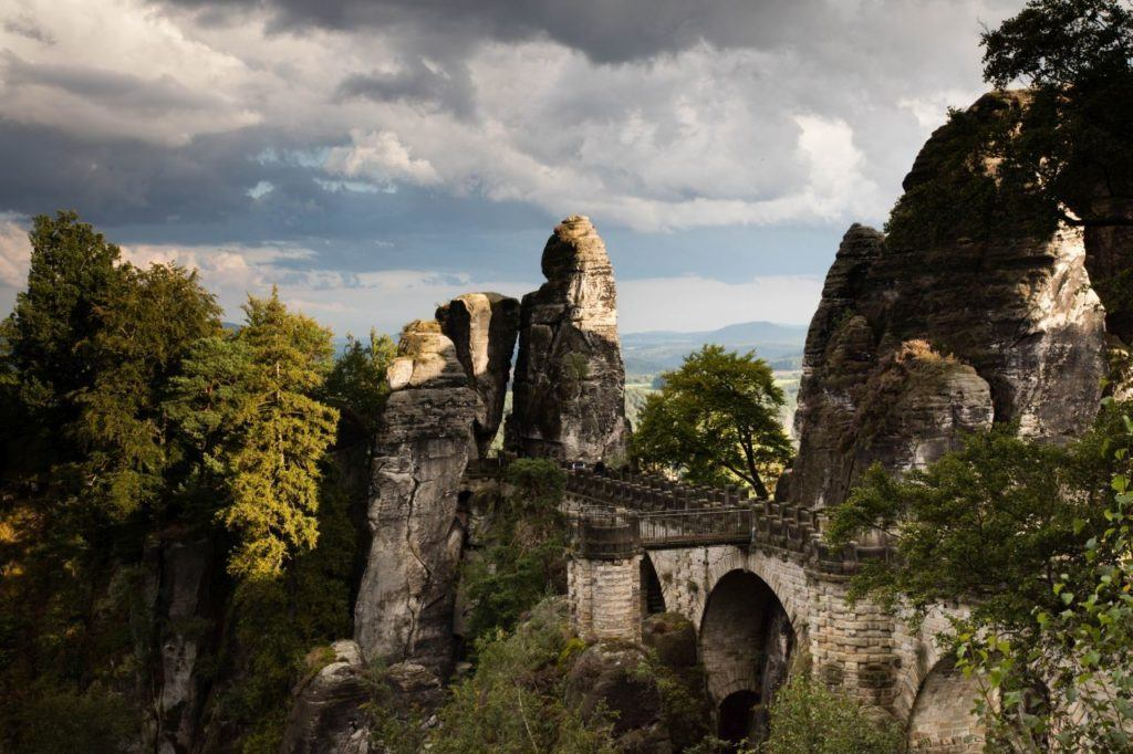 Bastei Bridge in Saxon Switzerland National Park.