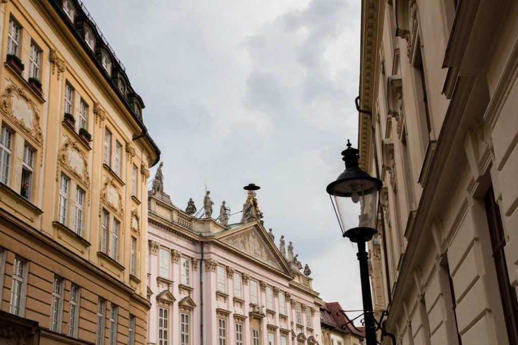 Restored baroque building facades in old town of the capital of Slovakia.