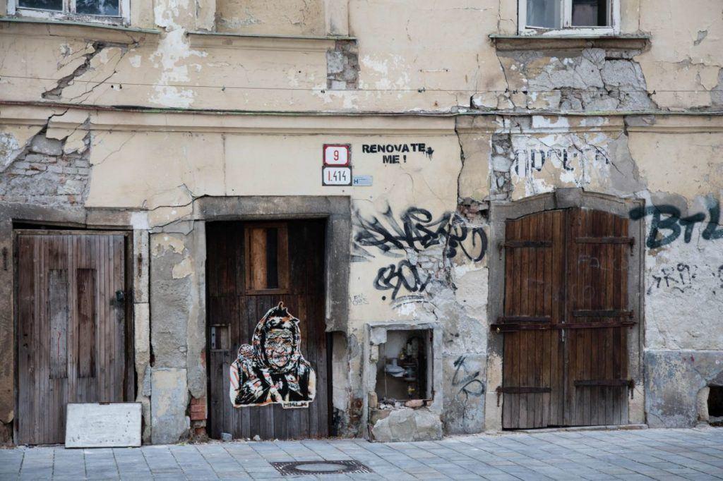 Deteriorated building we saw as we visit Bratislava old town.