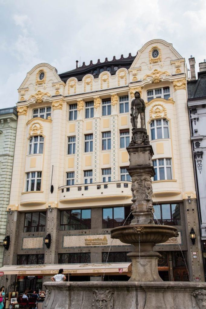 Maximilian's fountain in one of the beautiful city squares in the capital of Slovakia.