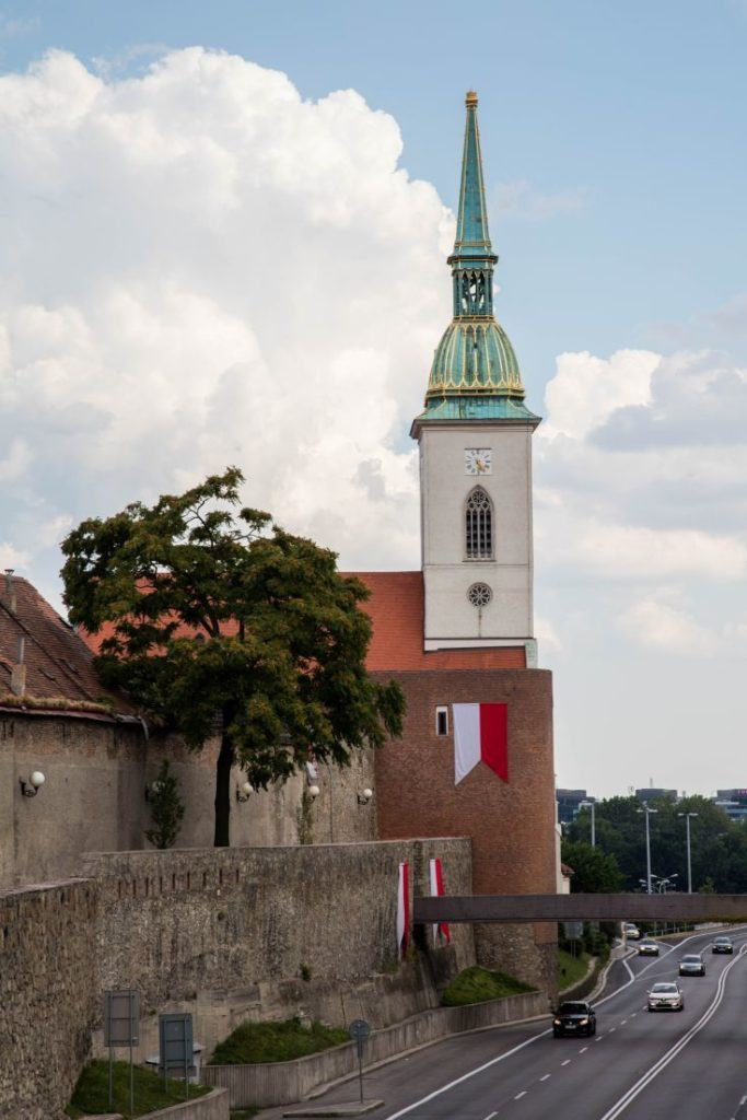 The old town wall still stands in Bratislava.
