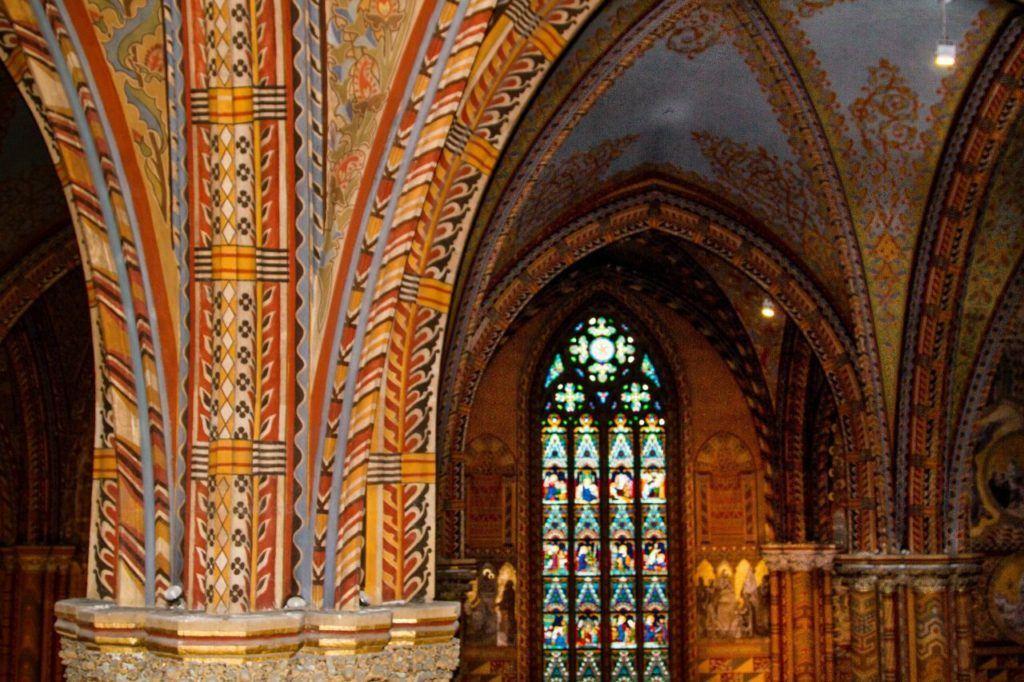 Orange, yellow, and black designs decorate the interior of St. Matthew's Church.