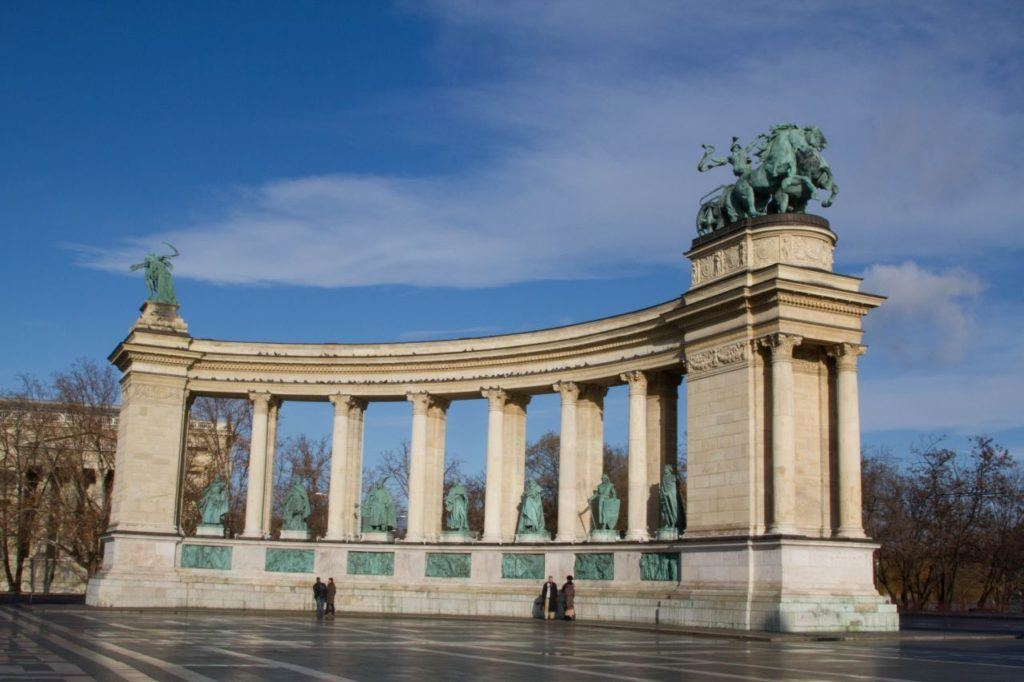 Hero's Square Monument is one of the most impressive sights to visit in Budapest