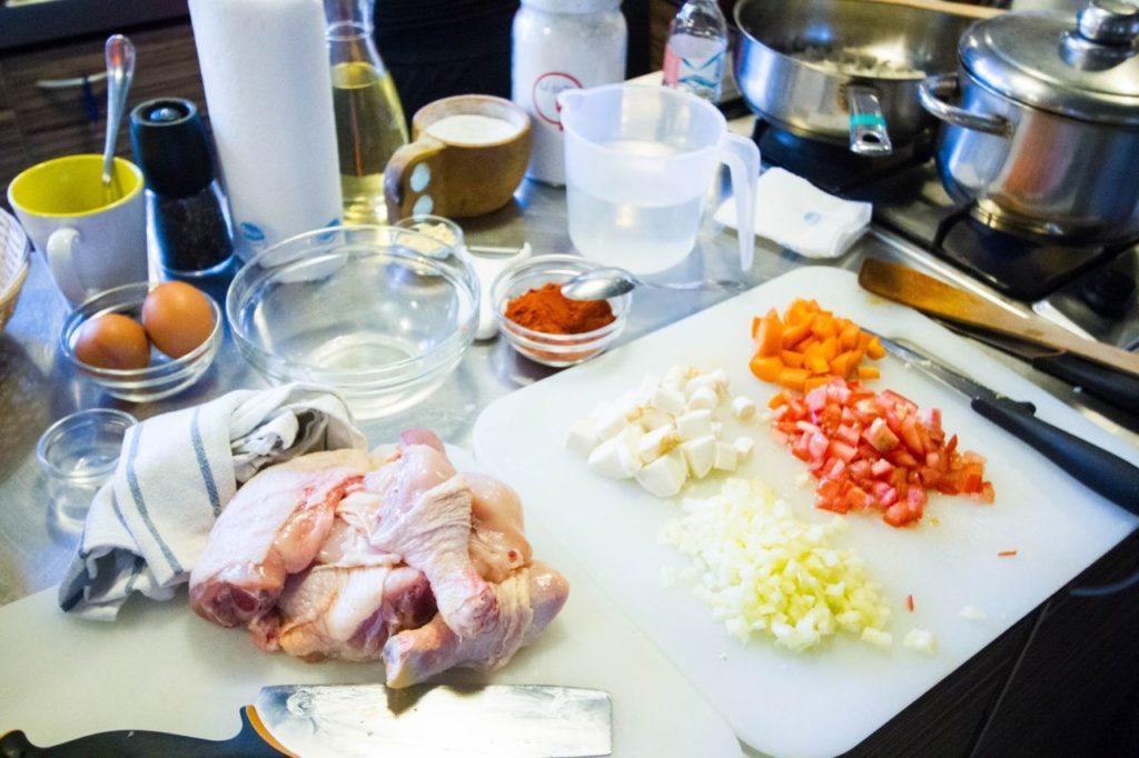 The mise en place ready for making chicken paprikash.