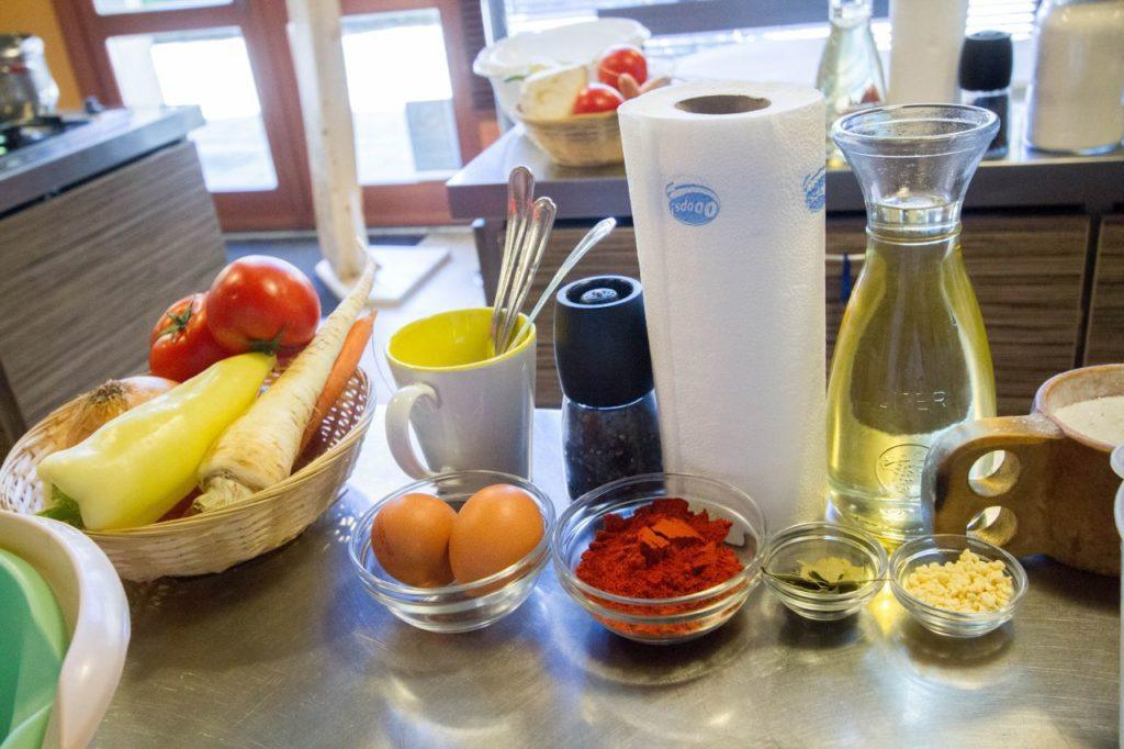 Ingredients need for Hungarian cooking.