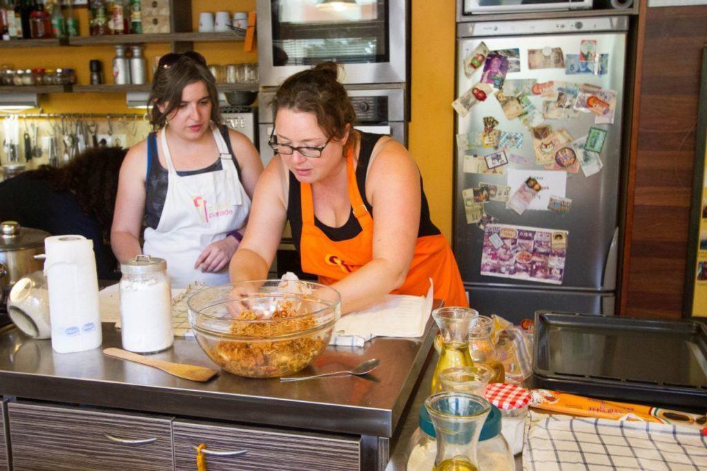 Anna and Devon make the apple strudel.
