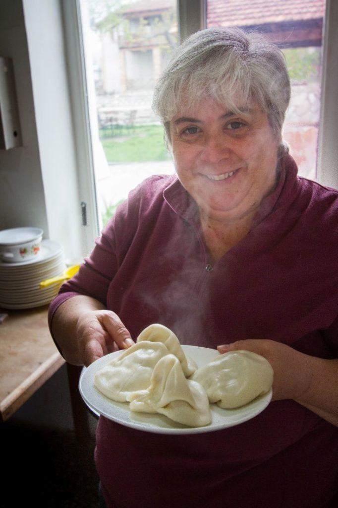 Corinne serves up her plate of Georgian Dumplings - Khinkali.