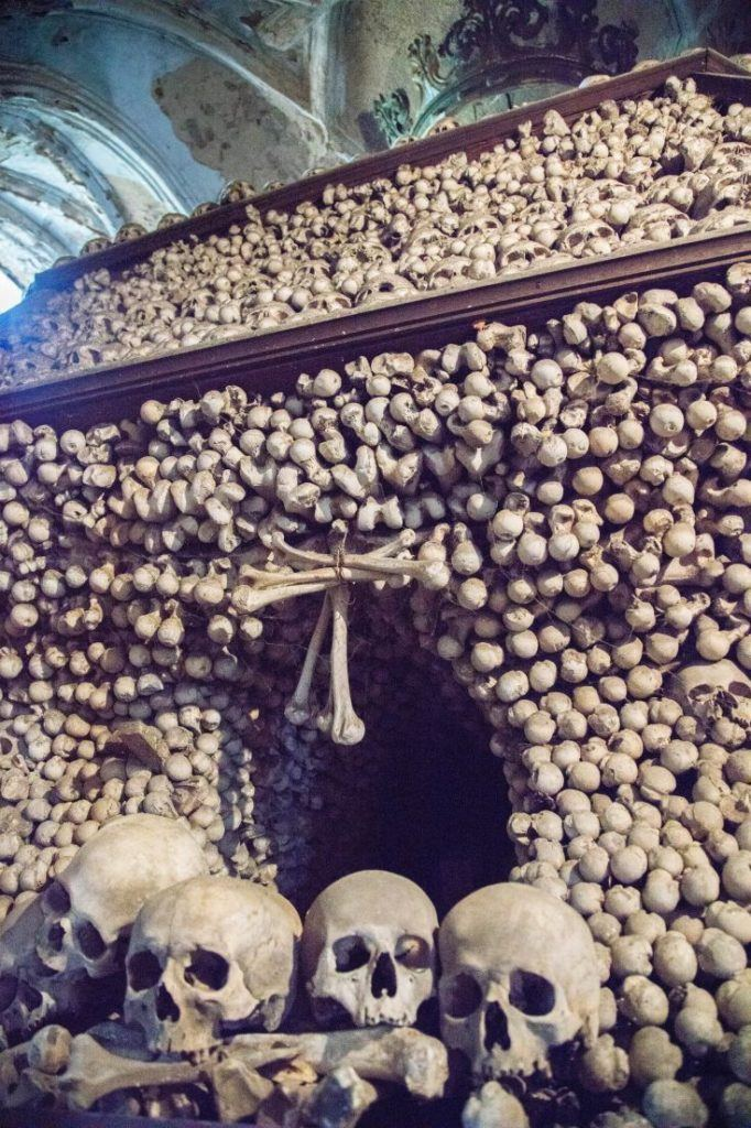 Hundreds of skulls and bones piled up in the Sedlec Bone Church.