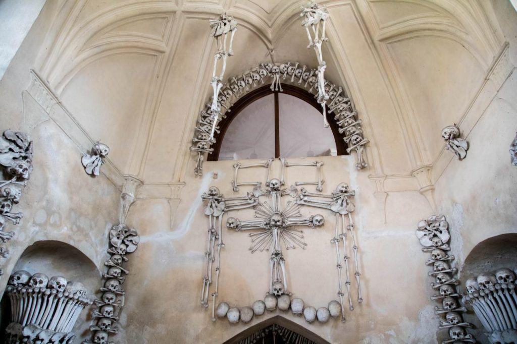 Human skulls and bones provide the decorative material in Sedlec.