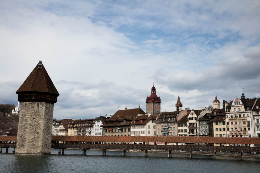 The water tower and the historic center on the Reuss River in Lucerne, Switzerland.