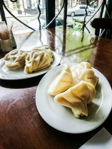 Georgian dumplings, Khinkali, ready to eat on the plate.