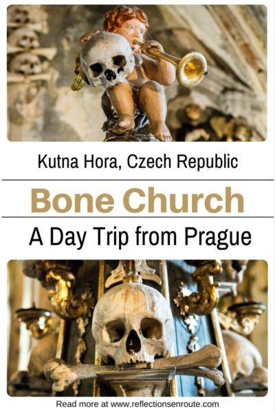 Skulls and skeletons greet you at the Sedlec Bone Church in Kutna Hora.