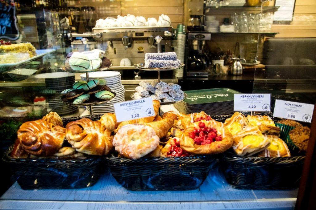 Pastries that we saw in a local cafe during our one day in Helsinki itinerary.