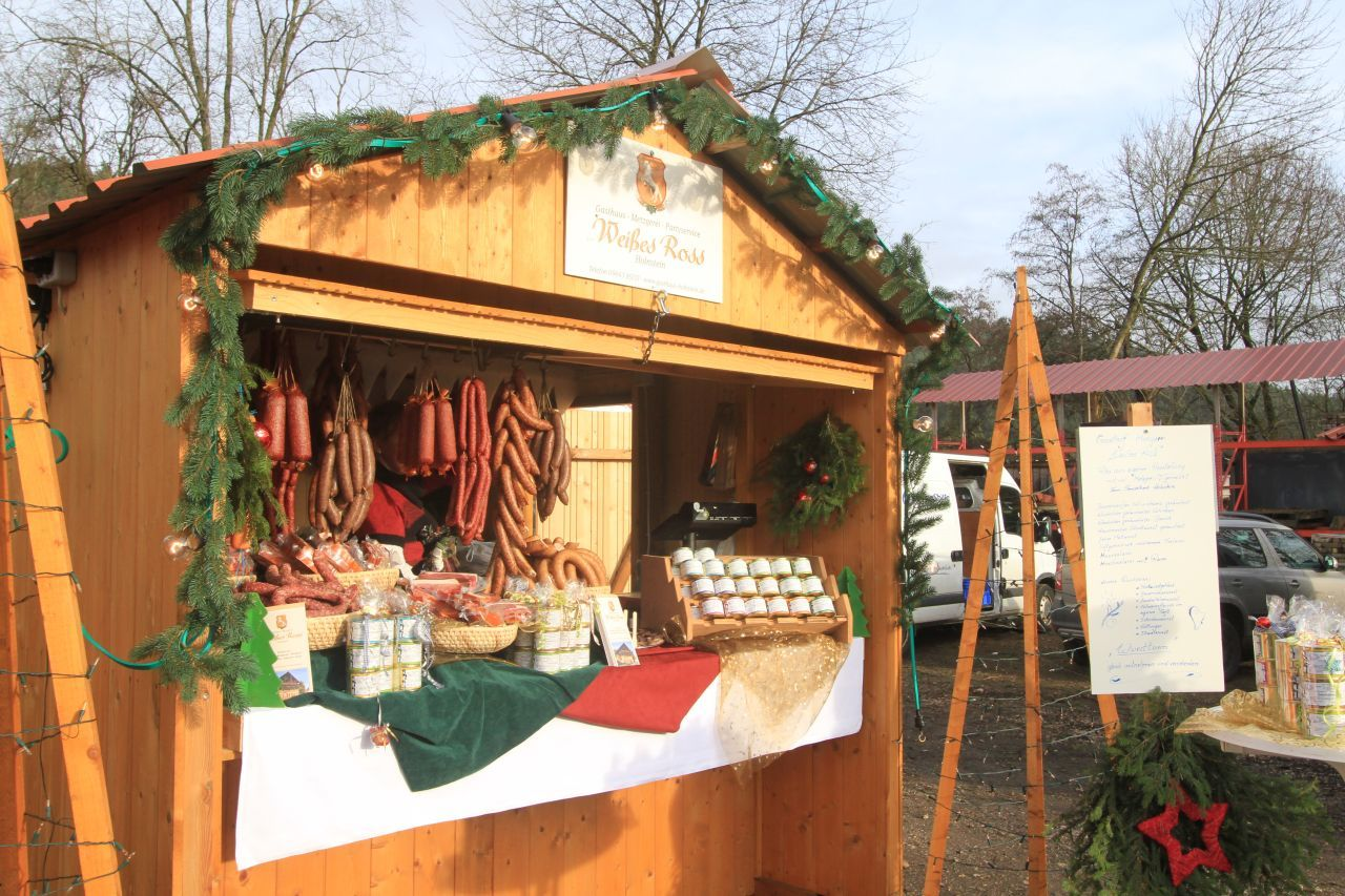 Christmas treats include sausage at a German Christmas market.