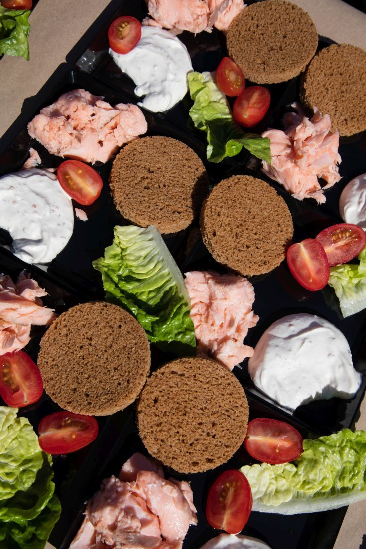 Salmon spread with rye bread in Sweden.