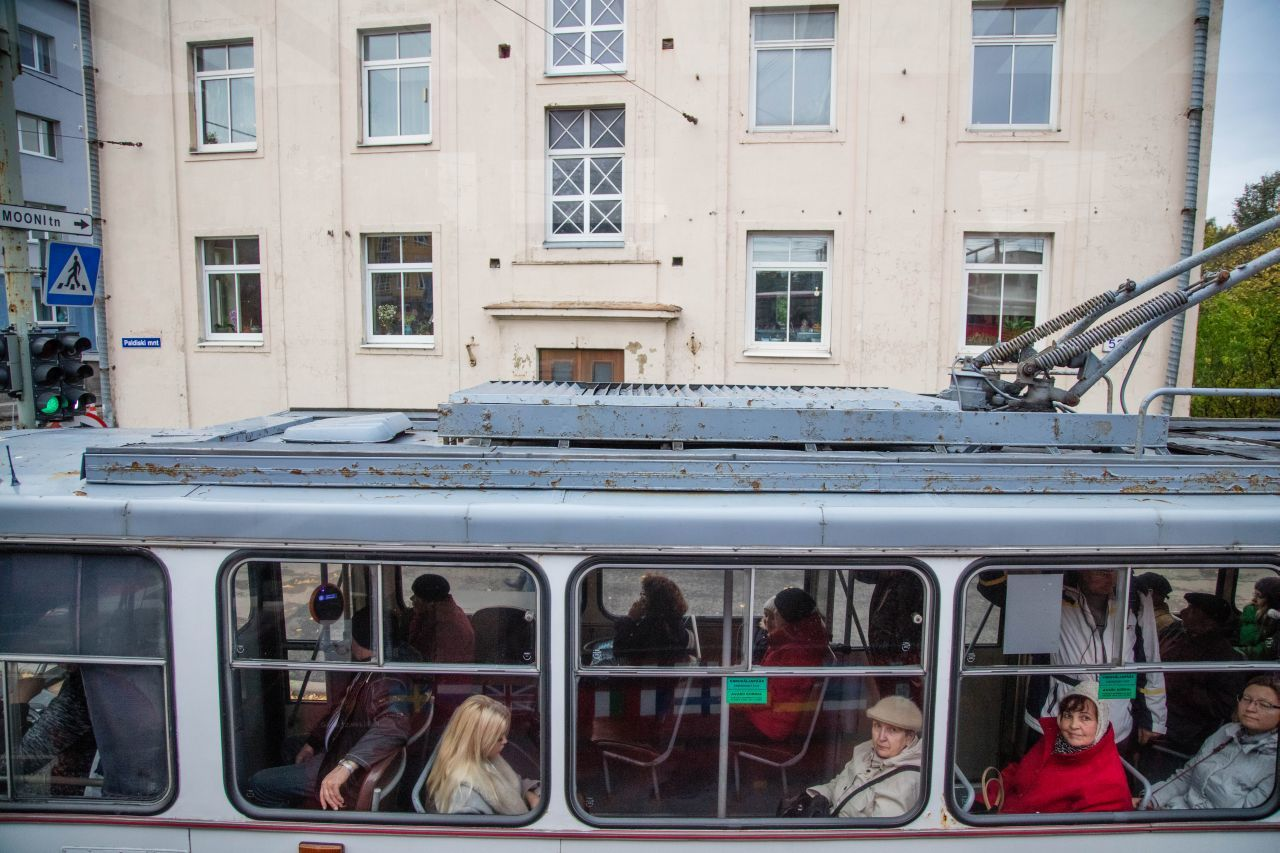 Commuters ridding on public transportation in Estonia!