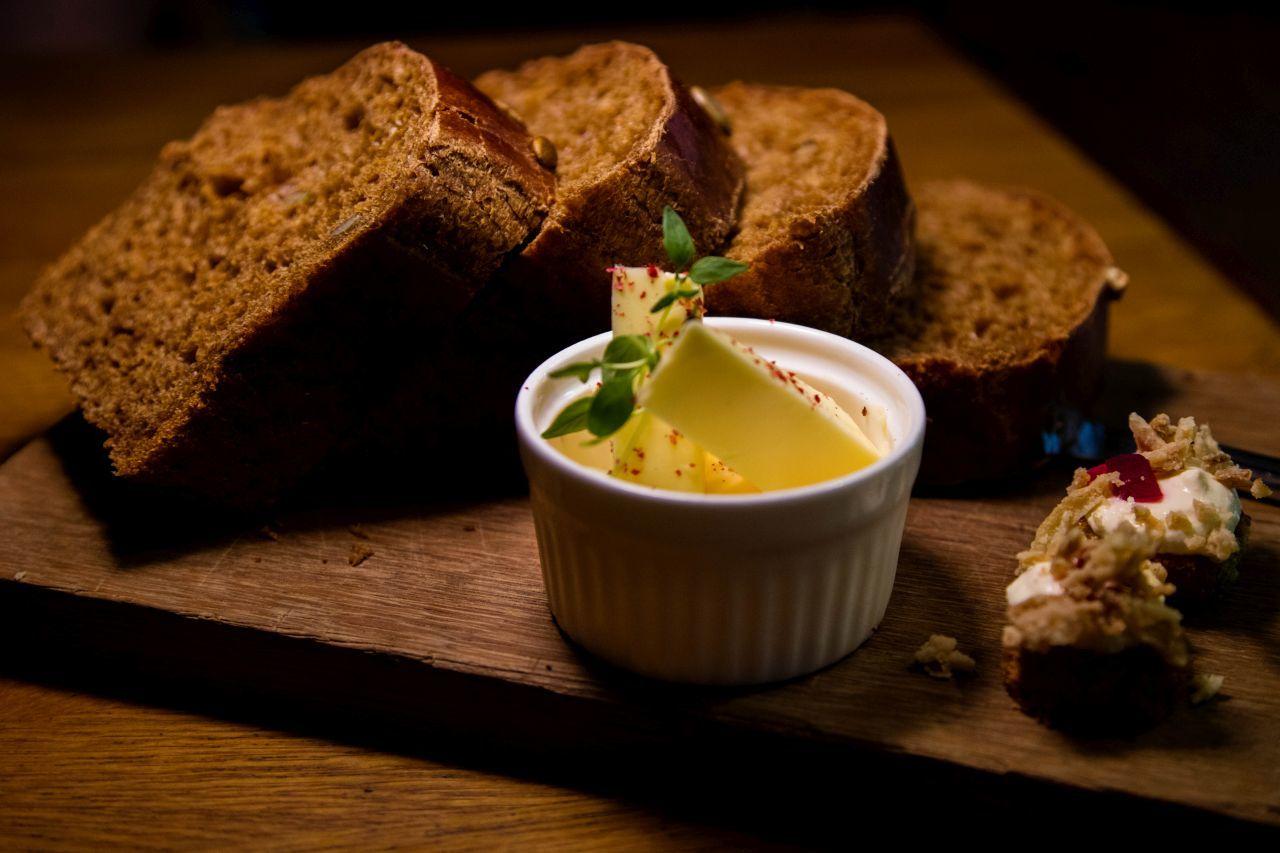 Fresh black rye bread and butter in Estonia.