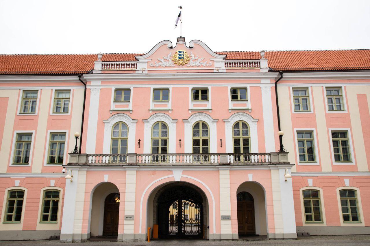 A historic pink building in Tallinn.