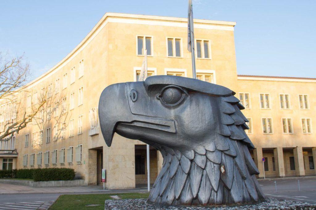Eagle statue and flagpole at Tempelhof.