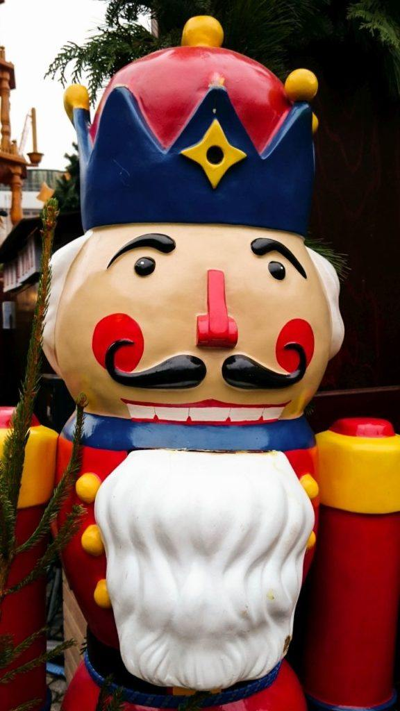 Nutcrackers like this giant one in Bamberg welcome you to the many Bavarian Christmas markets this season.
