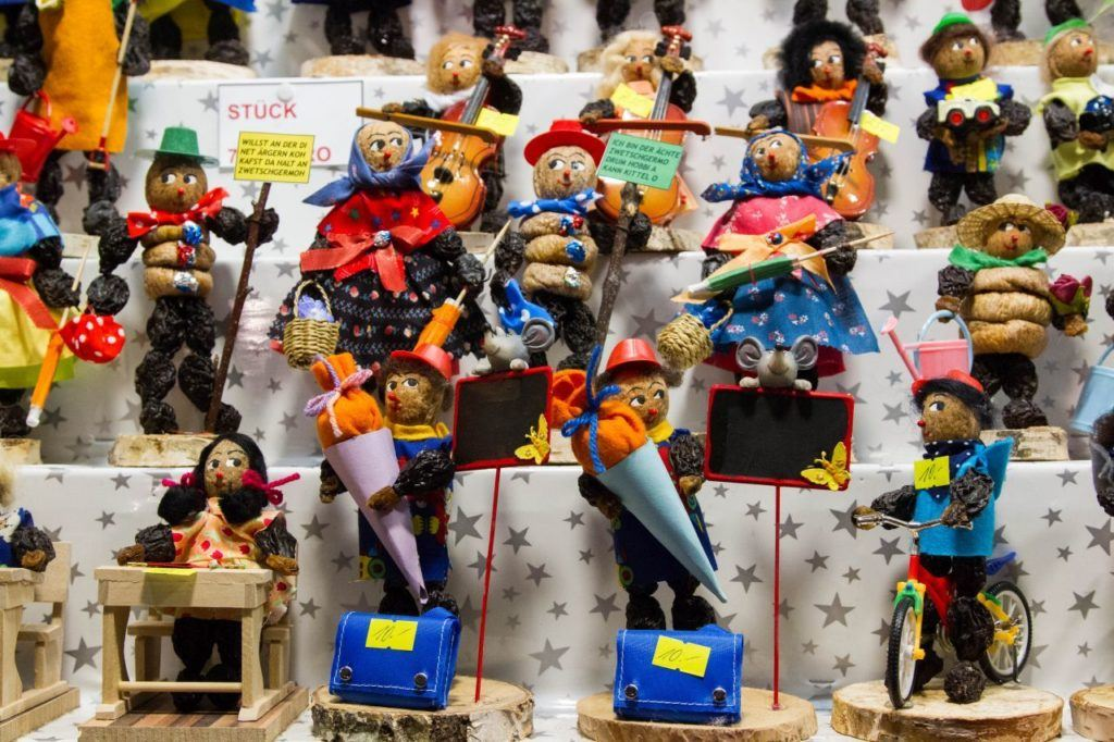 The famous dried fruit and nut figures for sale at the Nuremberg Christmas Market.