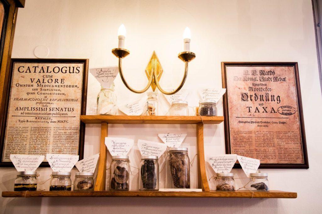 Inside the medieval pharmacy in Tallinn.