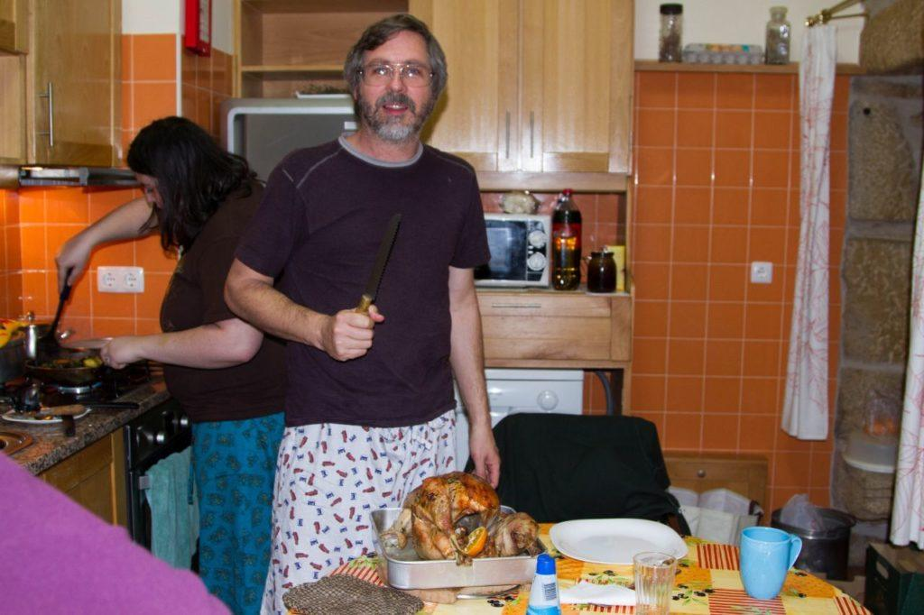 Preparing Christmas dinner in our AirBnB kitchen in Portugal.