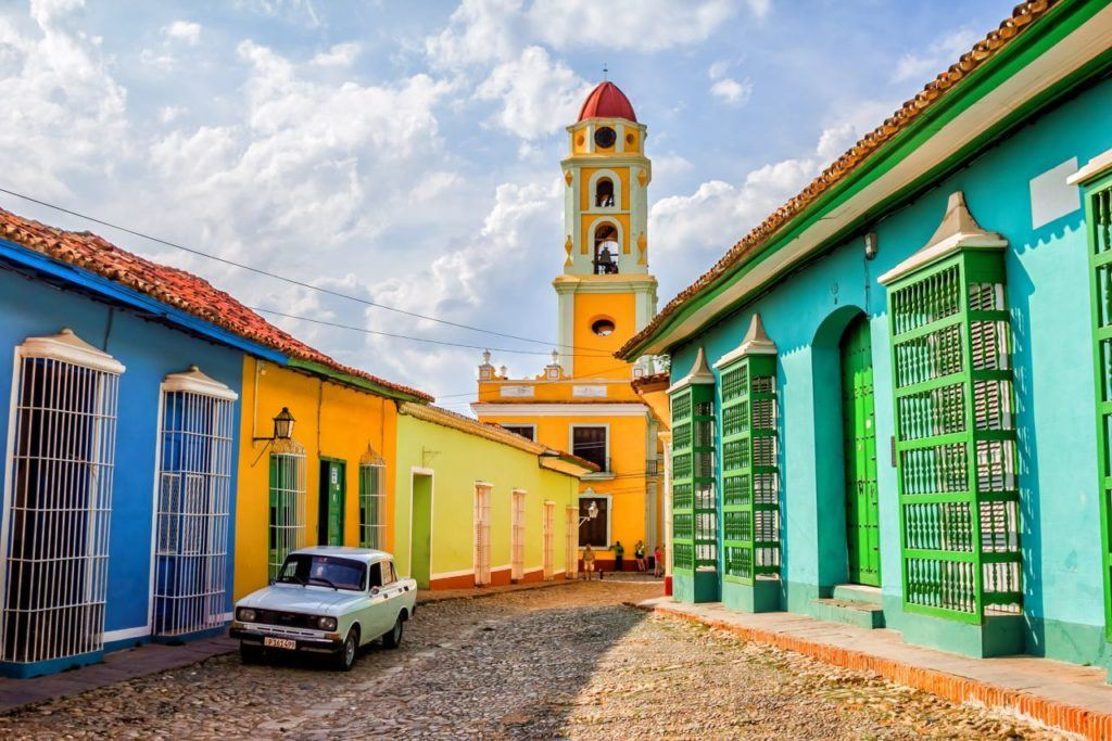 Colorful church and homes in Cuba.